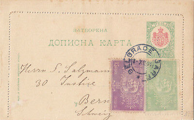 Serbia 1904 Postal Stationery Card Uprated By 15+5 Para Sent  To Switzerland