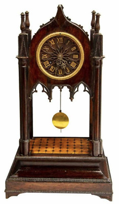 Rare Gothic Revival Victorian Architectural 19Th C. French Antique Mantle Clock