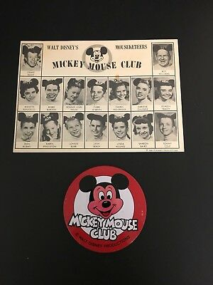 Disney Walt Disney's Mickey Mouse Club Mouseketeers Fan Card 1957 & Pin Button