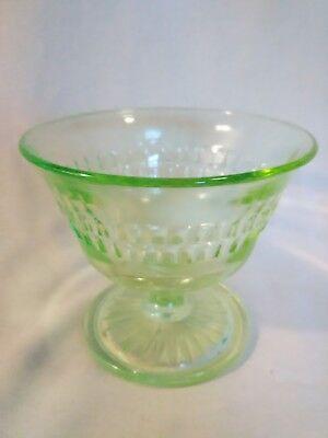 Vintage Green Glass Ice Cream Dessert Dish