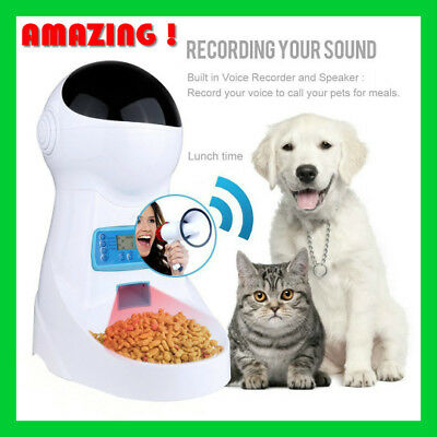 Automatic Pet Feeder Voice Recording Pets food Bowl Dog Feeding station 4 meals!