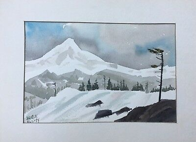 Charles Mulvey Original Signed Mountain Snow Water Color Print