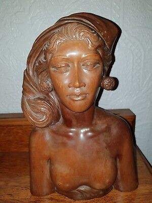 Reduced***Balinese Early 20Th Century Carving Of A Woman  By A Fatimah