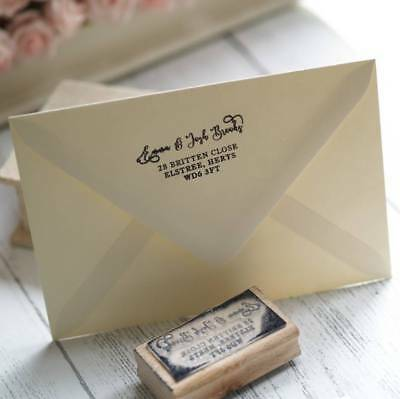 Personalised return address rubber stamp RSVP / moving home / Christmas cards
