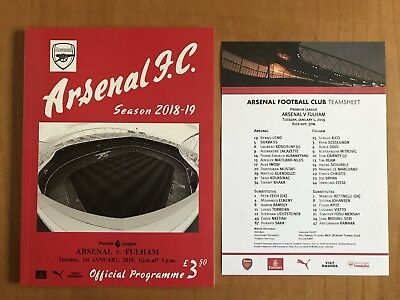Arsenal v Fulham Programme And Team Sheet 1st January 2019