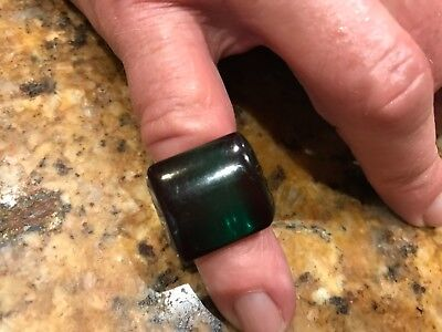Vintage Tested Dark Green Bakelite Ring with Squared Front Carved Leaves Size 7