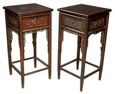 19Th C. Chinese Hand Carved Wood Tall Side End Table Pair  lamp stand nightstand