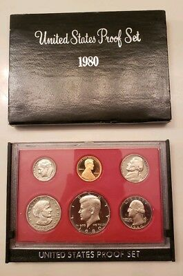 1980 S US Mint Proof Coin Set with original cover