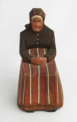 Antique Hand Carved Painted Wood Old Woman Sitting in Chair Figurine - So Nice!