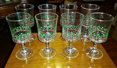 8 Vintage Christmas Holly Berry Glasses Wine Goblets