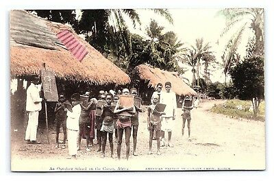Vintage Postcard Hand Colored Baptist Missionaries School in Congo Africa E3