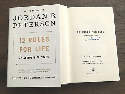 JORDAN B. PETERSON SIGNED 12 RULES FOR LIFE BOOK ANTIDOTE CHAOS w/COA BBC PROOF