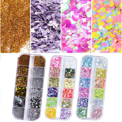 Laser Nail Glitter Powder Irregular Flakes DIY Manicure Shining Dust