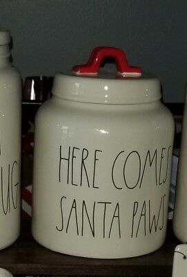 Rae Dunn White Red HERE COMES SANTA PAWS Canister Cookie Jar Christmas 2018 HTF