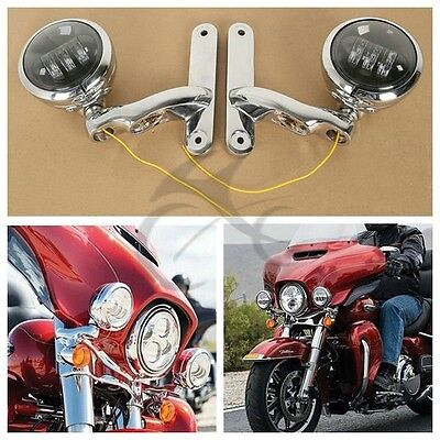 "4.5"" LED Auxiliary Fog Passing Lights With Housing Bucket & Brackets For Harley"