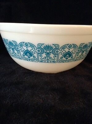 Vintage Pyrex Horizon Blue Deco 2 1/2 Quart Nesting Mixing Bowl 403 Very Nice