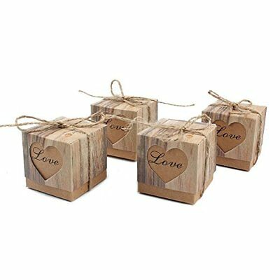 100Pcs Candy Favor Boxes Vintage Kraft Bonbonniere + Burlap Twine Love Heart Imi