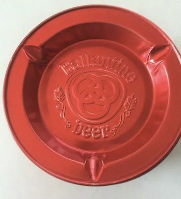 Vintage Red Ballantine Beer Tin Ashtray