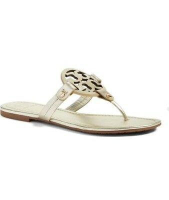 bc334c2a222ea Tory Burch Miller Leather Thong Flip Flop Sandals in Spark Gold Size 9