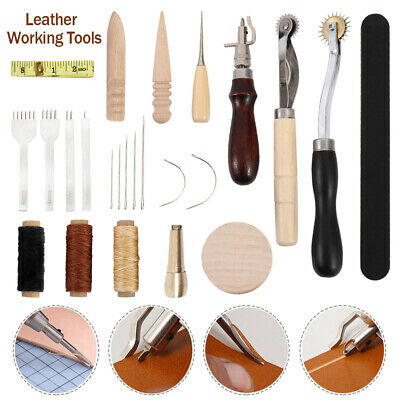 59pcs Leather Craft Sewing Punch Tool Kit Set Cutter Carving Working Stitching