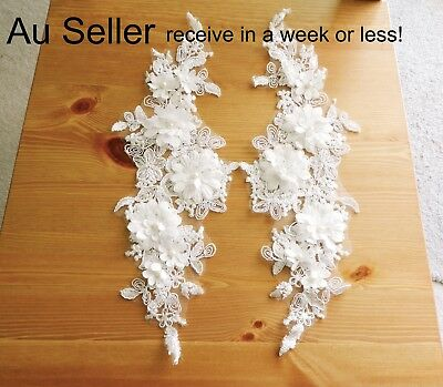 1 Pair Pearl Embroidered Applique Lace Trim Sew perfect for Bridal Dress Craft