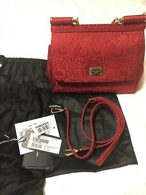 Authentic 100% Small Red Embroidered Canvas Dolce Gabbana Miss Sicily Bag 20c7baa53a69e