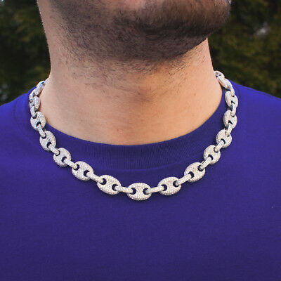 18k White Gold Lab Diamond Gucci Mariner Link Chain Iced Out Choker Necklace