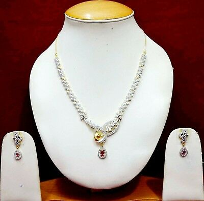 Indian Bridal Stylish Ruby Fashion Necklace Gold AD Earrings Jewellery Set ADn44