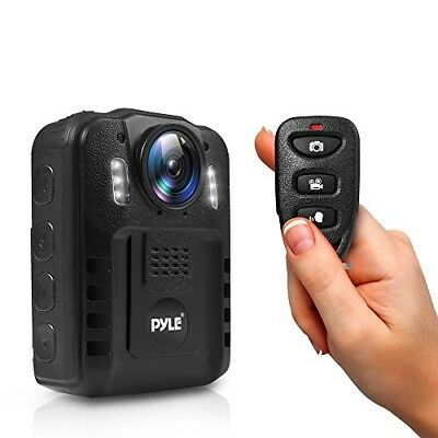 Pyle PPBCM9 Compact Portable HD 1080p 8MP Body Police Camera IR Night Vision LCD