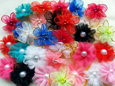50Pcs Dog Pet Cat Hair Bow Rubber Band Animal Grooming Accessories Hand Made
