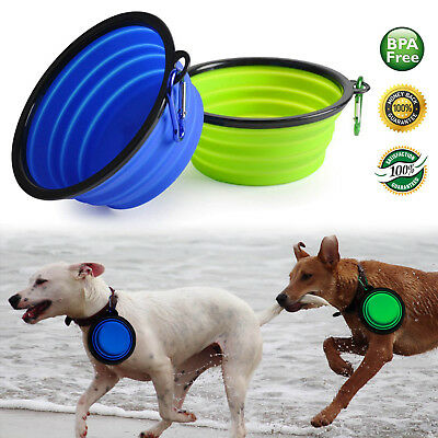 2-Pack Silicone Collapsible Dog Bowls, BPA Free and Dishwasher Safe, Foldable
