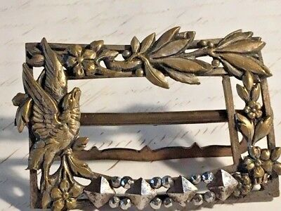 Antique Vintage Steel Cut Belt Buckle Brass Bird Flowers Dress Buckle