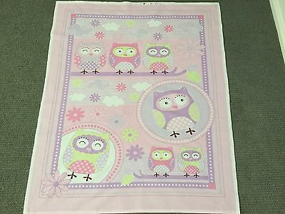 Owl Fabric Panel Baby Quilt Fabric Girl Nursery Quilt Panel Quilting Cot Panel