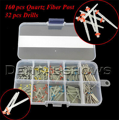 160PCS Dental Quartz Fiber Post Single Refilled Package & Free For 32 PCS Drills