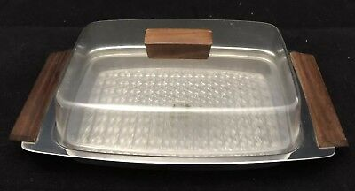 Vintage stainless steel butter dish with plastic insert. Great Condition.