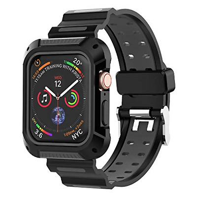 UMTELE Compatible for Apple Watch 4 Case and Band 44mm, Shock Resistant Rugged 4