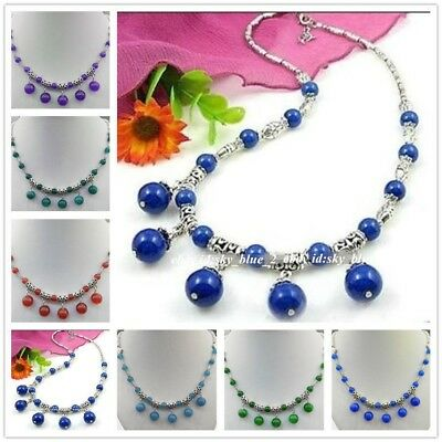 Lovely Natural Round Beads Pendants & Tibet Silver Necklace 18""