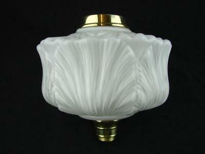 Antique Overlaid Moulded White Milk Glass Oil Lamp Font, Polished Brass Fittings