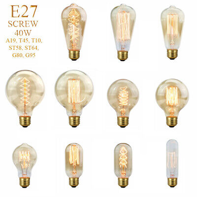 1x4x E27 40W Edison Retro Vintage Filament Globe Light Lamp Bulb Antique Style