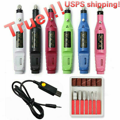 1Set 6 Bits Electric Nail Drill Machine Manicure Portable File Butter Gel Remove
