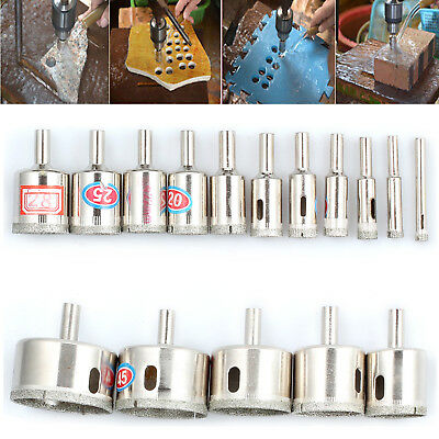 16pcs Diamond Coated Hole Drill Bit Set Glass Ceramic Tile Marble Cutting Tool