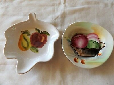 Lot Of 2 Vintage Hand Painted Ceramic Pin / Trinket / Bonbon Dishes