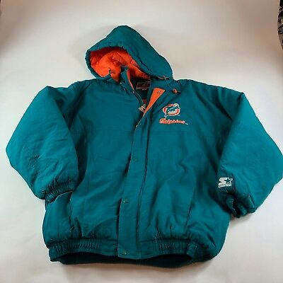hot sale online 63f87 98235 VTG MIAMI DOLPHINS Starter NFL Pro Line Jacket XL Coat Full Zip Teal  Authentic