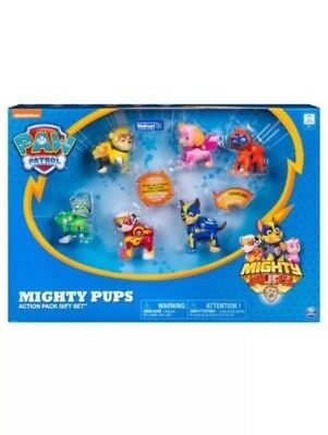 Paw Patrol 6 Pack Mighty Pups 6 Action Pups Gift Set Rare Light UP *SALE*