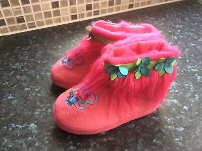 Girls Pink Trolls Bootie Slippers Size 30UK 12 New Without Tags