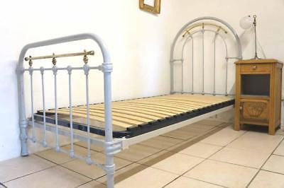 Antique French Grey 3 ft Standard UK Single Iron Metal Bed Shabby Chic