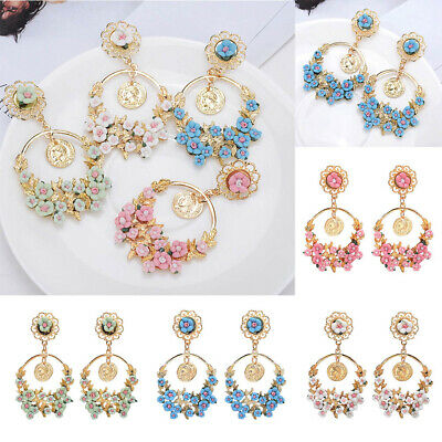 1 Pair Fashion Long Flower Ear Stud Earrings Elegant Women Jewelry Gift Party