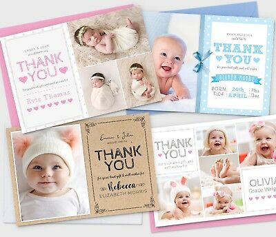 Personalised New Baby Thank You Cards Photo Birth Announcement Girl or Boy (G1)