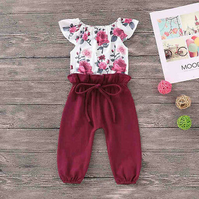 Newborn Toddler Baby Girls Floral Patchwork Lace Romper Jumpsuit Outfits Tops