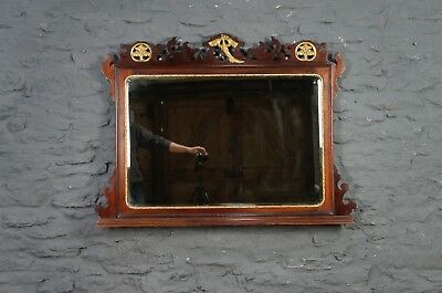 Very Large Georgian Style Antique Mahogany Over Mantle Wall Mirror -Can Deliver